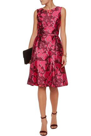 OSCAR DE LA RENTA Belted printed silk and cotton-blend dress