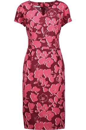 OSCAR DE LA RENTA Pleated floral-print cotton-blend poplin dress