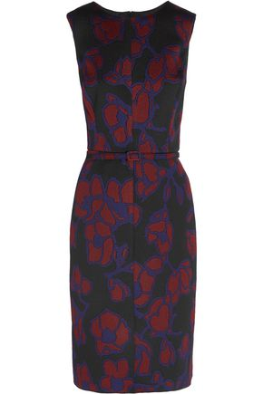 OSCAR DE LA RENTA Belted jacquard midi dress