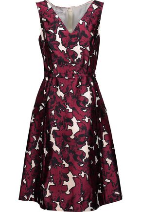 OSCAR DE LA RENTA Pleated floral-print silk-twill dress