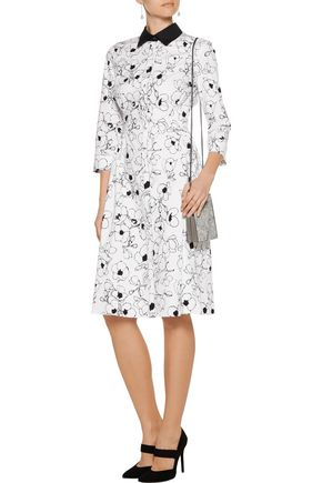 OSCAR DE LA RENTA Printed cotton-poplin dress
