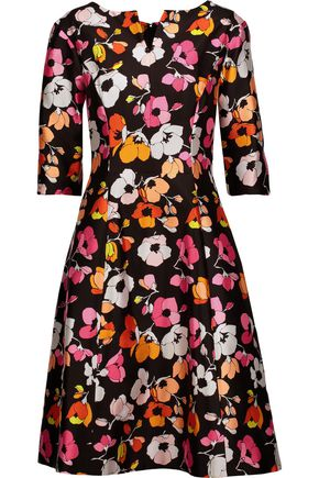 OSCAR DE LA RENTA Pleated floral-print silk and cotton-blend twill dress