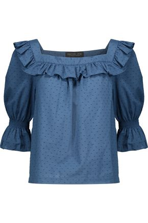 RACHEL ZOE Henson ruffled Swiss-dot cotton blouse