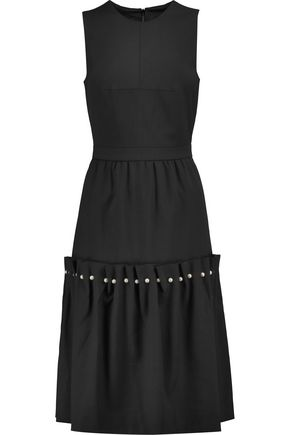 MOTHER OF PEARL Marietta faux pearl-embellished pleated wool-blend dress