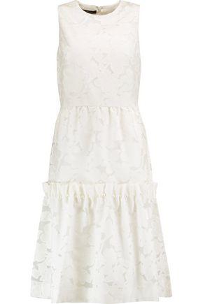 MOTHER OF PEARL Ellie faux pearl-embellished devoré cotton-blend midi dress