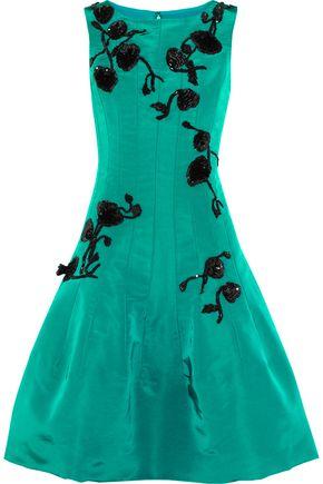 OSCAR DE LA RENTA Sequin-embellished silk-faille dress