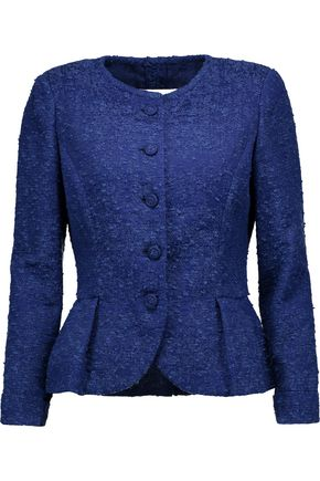 OSCAR DE LA RENTA Cotton-blend bouclé peplum jacket