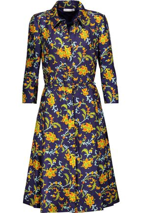 OSCAR DE LA RENTA Printed silk-satin twill dress