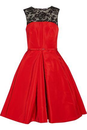 OSCAR DE LA RENTA Lace-paneled silk-faille dress