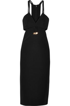 CUSHNIE ET OCHS Cutout fringed cady midi dress
