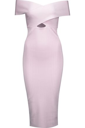 CUSHNIE Off-the-shoulder cutout ribbed-knit midi dress