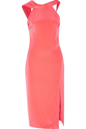 CUSHNIE ET OCHS Anna open-back draped silk-cady midi dress
