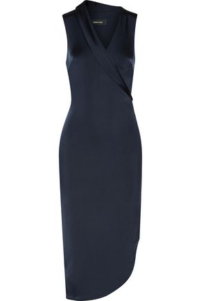 CUSHNIE ET OCHS Brigitte asymmetric wrap-effect stretch satin-jersey midi dress