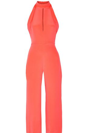 CUSHNIE ET OCHS Cropped cutout silk-cady jumpsuit