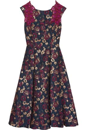 BADGLEY MISCHKA Lace and tulle-trimmed metallic floral-print cloqué midi dress