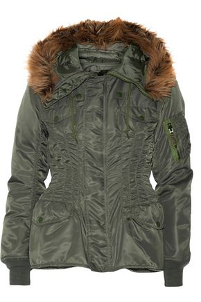 JUNYA WATANABE Hooded faux fur-trimmed satin-twill jacket