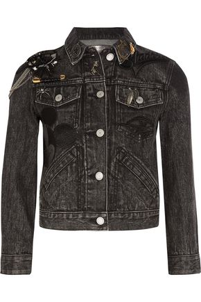 MARC JACOBS Cropped embellished appliquéd denim jacket