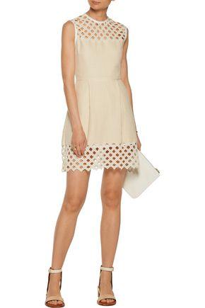 SANDRO Rita crocheted cotton and linen-blend mini dress