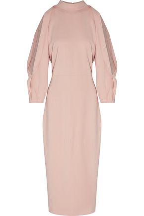 CUSHNIE ET OCHS Gina draped cutout stretch-crepe midi dress