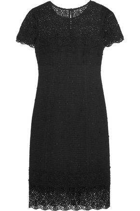OSCAR DE LA RENTA Embroidered-paneled cotton-blend bouclé dress