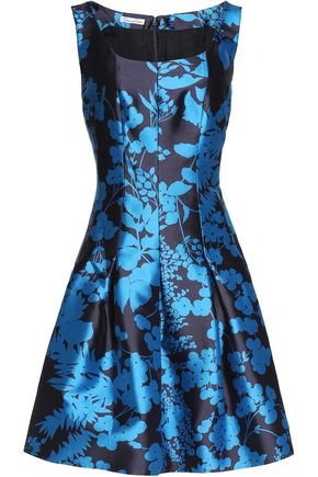 OSCAR DE LA RENTA Pleated floral-print silk and cotton-blend dress