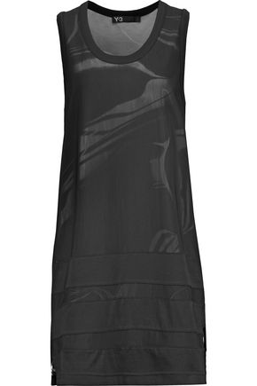 Y-3 + adidas Originals layered printed stretch-cotton and mesh mini dress