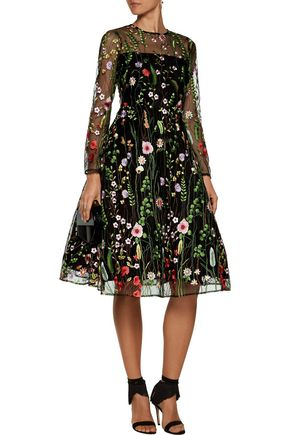 ALEXIS Lou embroidered tulle midi dress