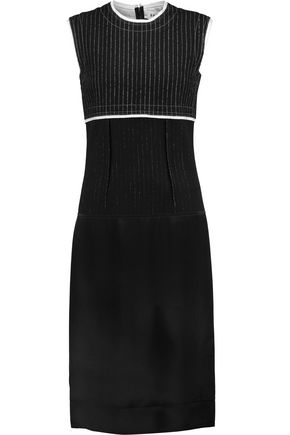 DKNY Paneled pinstriped wool-blend and satin dress