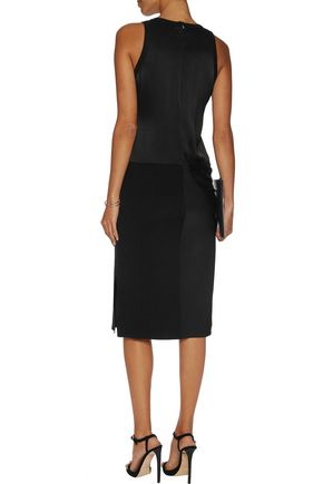 DKNY Draped stretch-silk satin and ribbed merino wool midi dress