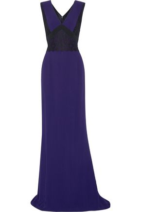 J. MENDEL Guipure lace-paneled crepe gown
