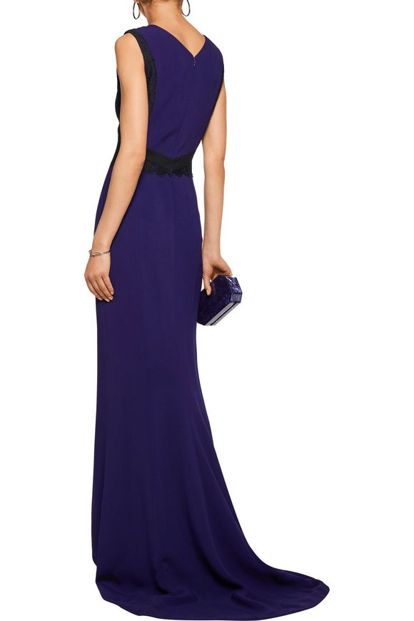 Guipure lace-paneled crepe gown | J. MENDEL | Sale up to 70% off | THE  OUTNET