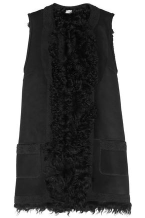 TALITHA Embroidered and shearling-trimmed suede gilet