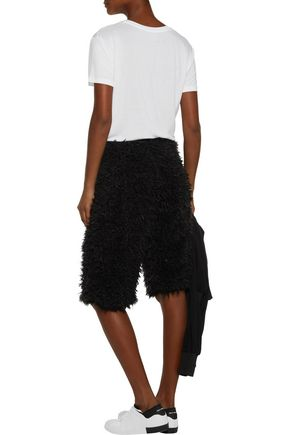 Y-3 + adidas Originals cotton-trimmed faux shearling shorts