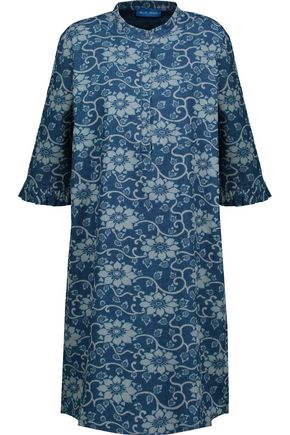 M.I.H JEANS Becca ruffled floral-print cotton-chambray shirt dress