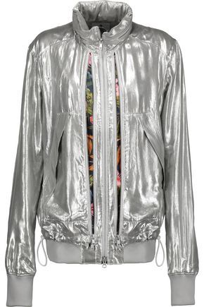 Y-3 + adidas Originals floral-print paneled metallic lamé hooded jacket