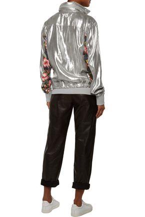 Y-3 + adidas Originals floral-print paneled metallic lamé hooded jacket