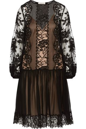 ZIMMERMANN Karmic lace-paneled silk-chiffon dress
