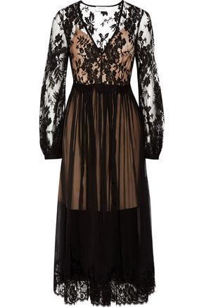 ZIMMERMANN Lavish cotton-blend lace-paneled silk-georgette midi dress