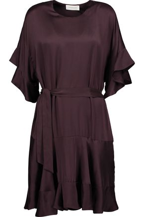 ZIMMERMANN Tie-front washed-silk peplum dress