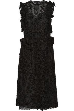 SIMONE ROCHA Tweed-paneled embroidered tulle dress