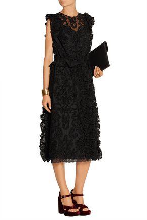 SIMONE ROCHA Tweed-paneled embroidered tulle dress