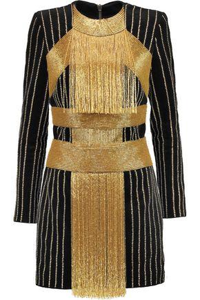 BALMAIN Embellished cotton-velvet  mini dress