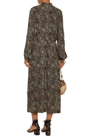 ZIMMERMANN Lavish gathered printed crepe midi dress