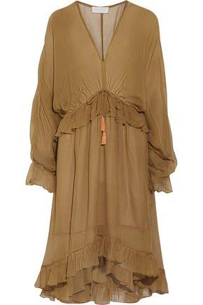 ZIMMERMANN Chroma Drawn asymmetric ruffled silk-georgette dress