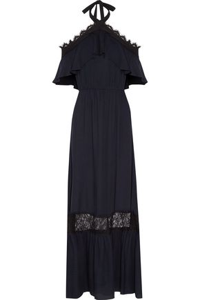 ALICE + OLIVIA Mitsy off-the-shoulder lace-trimmed gauze halterneck maxi dress