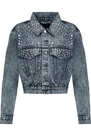 WOMAN CRYSTAL-EMBELLISHED FADED DENIM JACKET MID DENIM