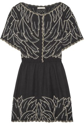 ALICE + OLIVIA Kelsi embroidered canvas mini dress