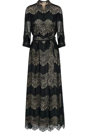 ALICE + OLIVIA Sina paneled guipure lace and voile maxi dress