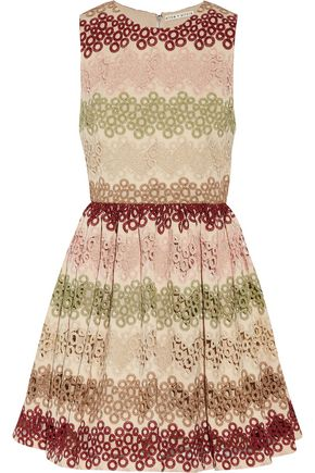 ALICE + OLIVIA Joyce guipure lace and woven mini dress