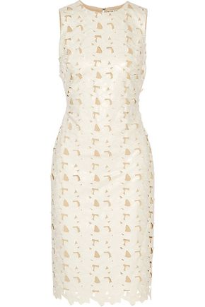 ALICE + OLIVIA Fey embroidered laser-cut faux leather dress